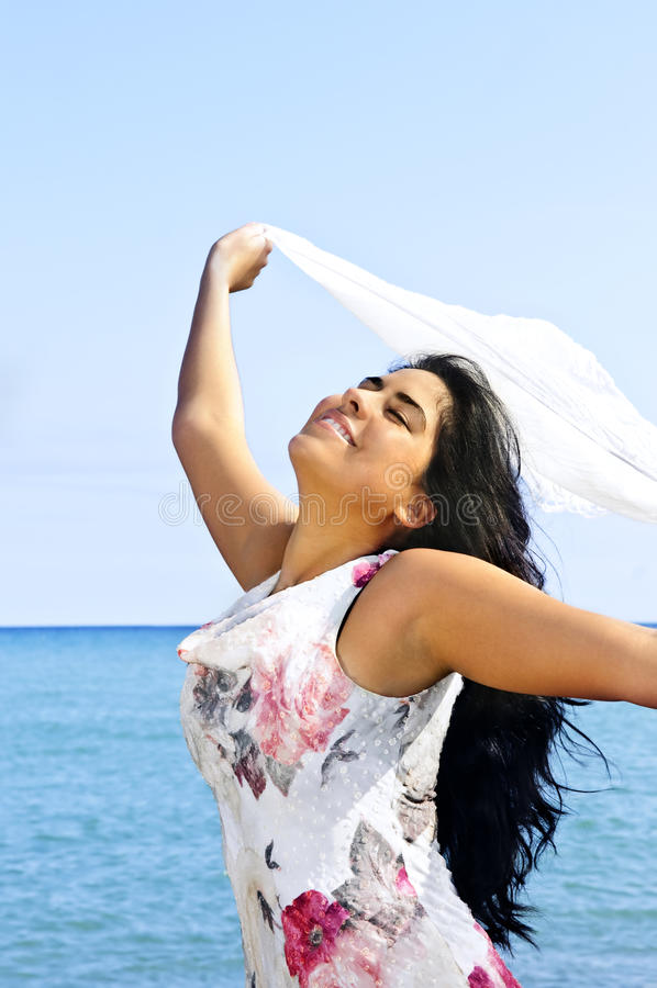 Free Beautiful Young Woman At Beach With White Scarf Stock Images - 9959814