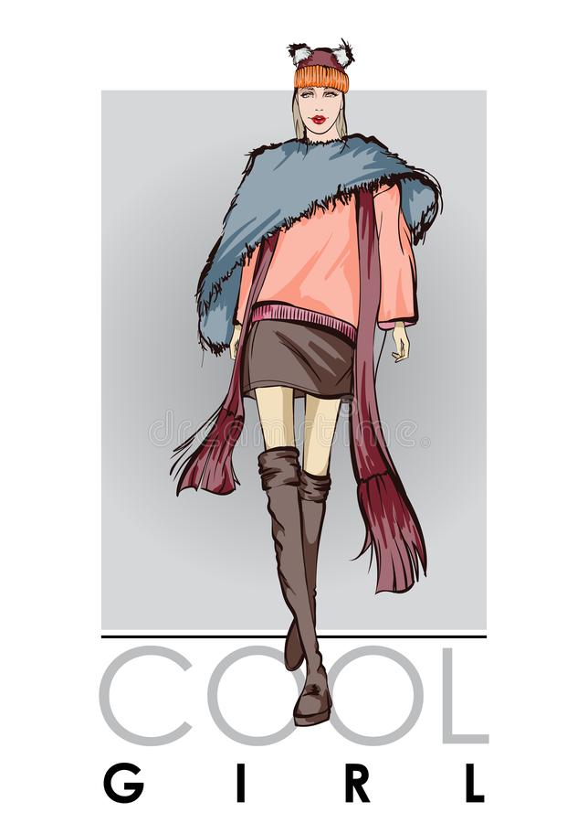 Beautiful young woman in autumn clothes. Hand drawn fashion girl. Sketch. Autumn look royalty free illustration