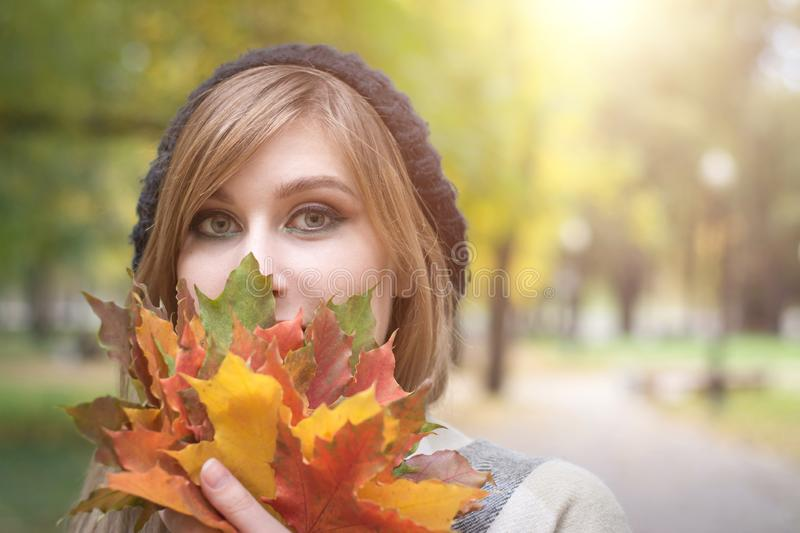 Beautiful young woman with autumn leaves stock photography