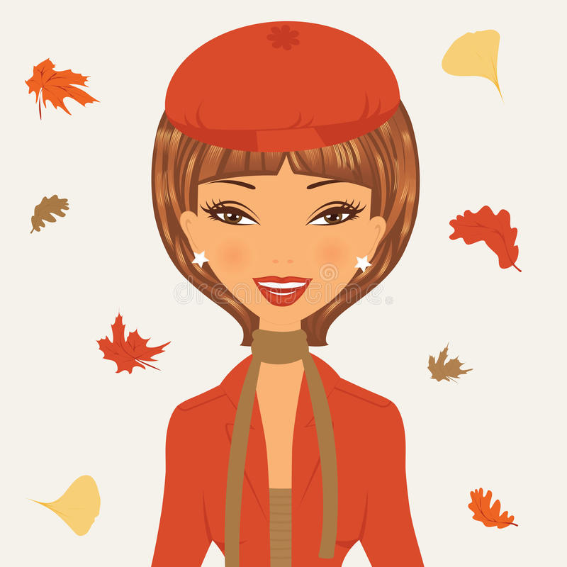 Beautiful young woman in autumn royalty free illustration