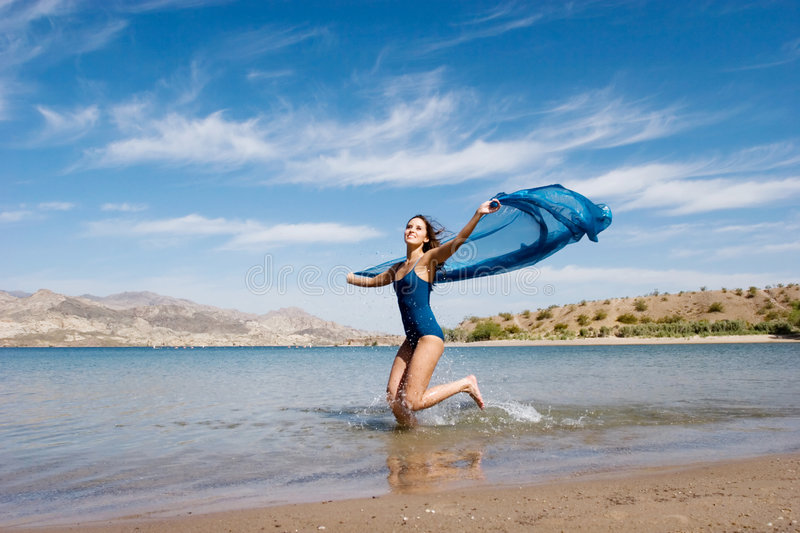 Download Beautiful Young Woman By The Beach Stock Image - Image of outdoor, cheerful: 5800647