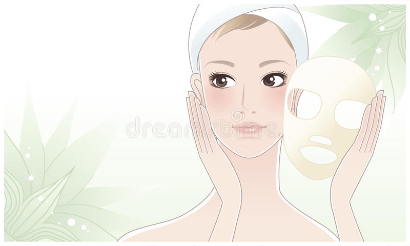 Beautiful young woman after beauty mask on lotus vector illustration