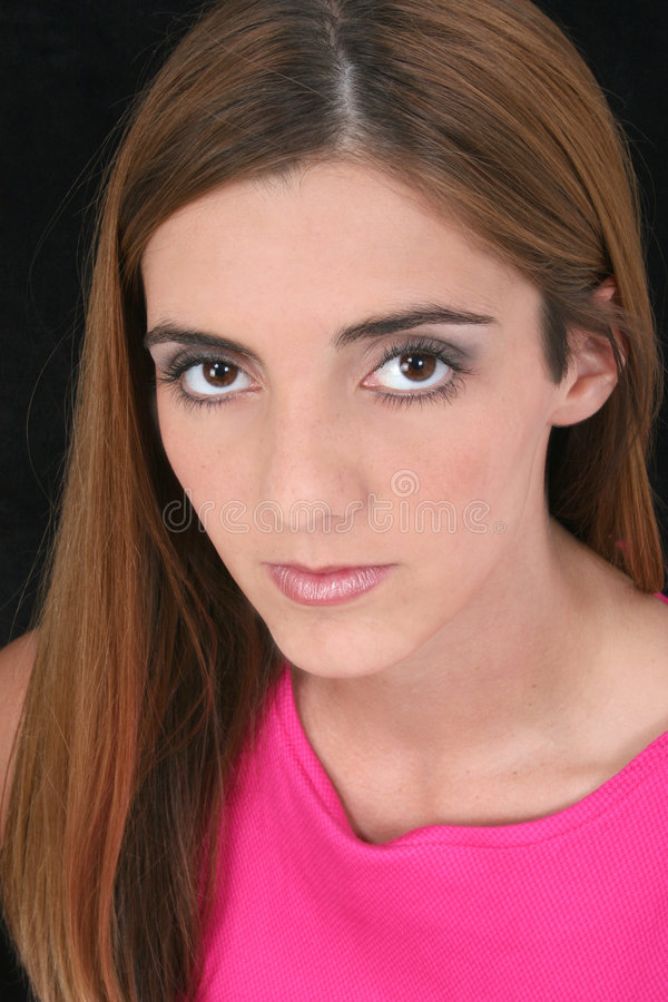 Beautiful Young Woman with Big Brown Eyes and Long Brown Hair