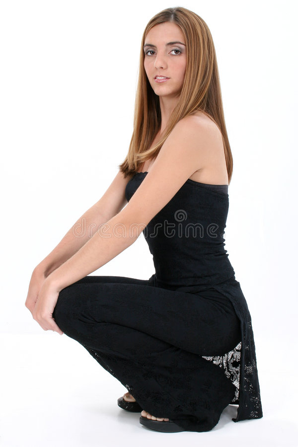 Download Beautiful Young Woman In Black Over White Stock Photo - Image: 226576