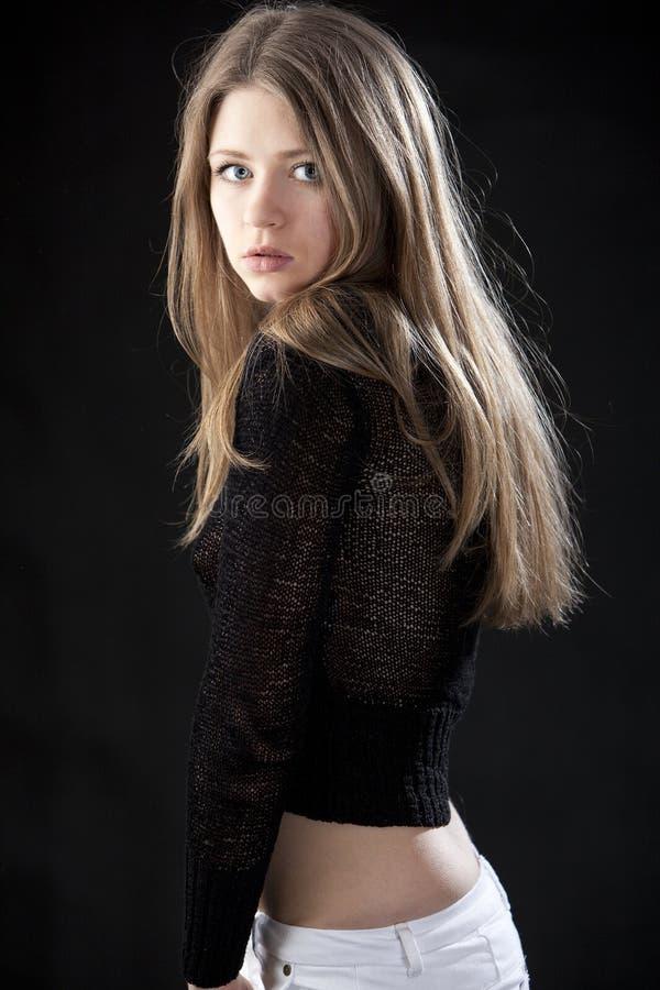 Download Beautiful Young Woman Blonde Dark Blue Eyes Stock Image - Image: 14199701