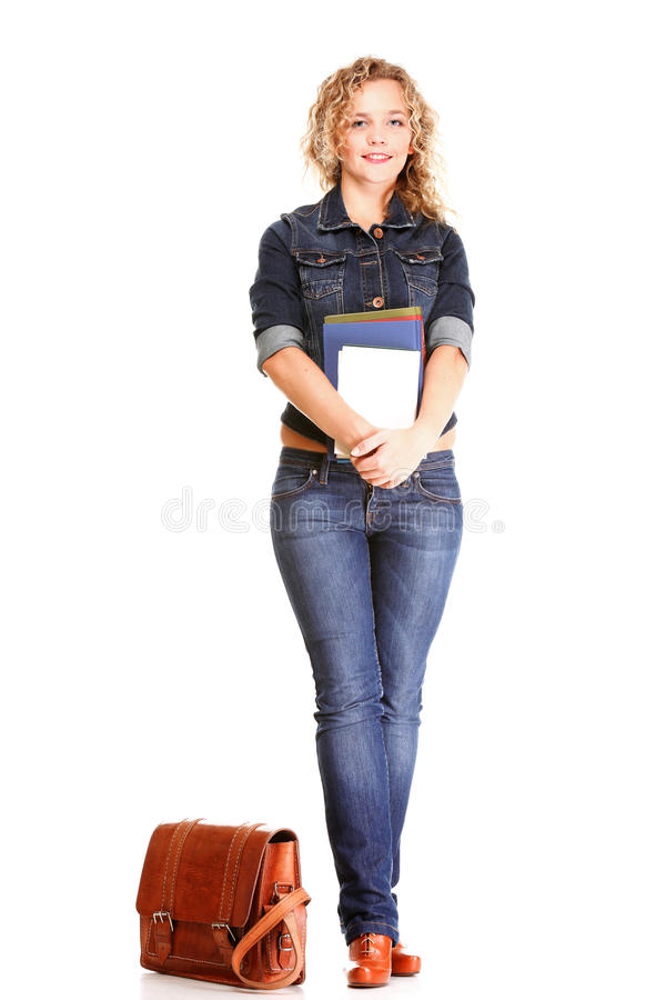 Download Beautiful Young Woman Blonde Standing Full Body In Jeans Isolate Stock Image - Image of pretty, length: 39507243