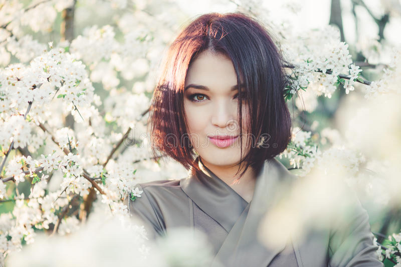 Beautiful young woman in blooming sakura. Beautiful young woman in blooming cherry blossoms garden royalty free stock photo
