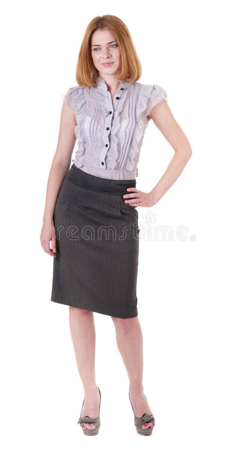 Beautiful young woman in blouse and skirt on white royalty free stock photos