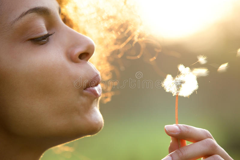 Beautiful young woman blowing dandelion flower royalty free stock photography