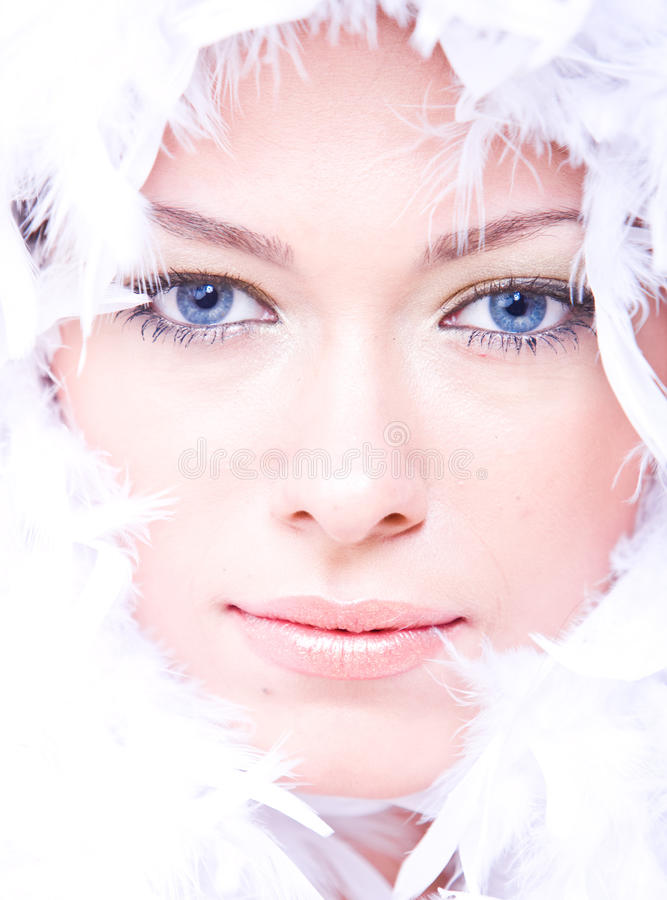 Beautiful Young Woman With Blue Eyes And Boa Royalty Free Stock Photos