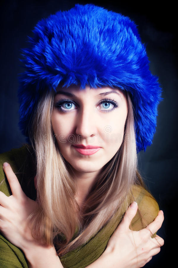 Download Beautiful Young Woman In Blue Winter Hat Stock Image - Image: 18205205