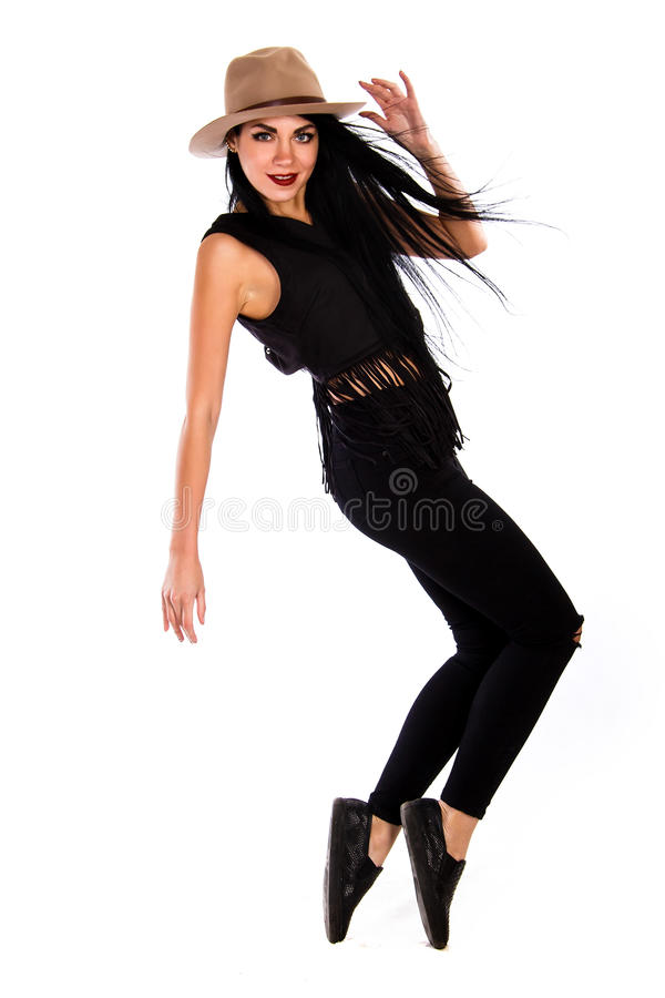 Beautiful young woman in a casual style clothes royalty free stock images