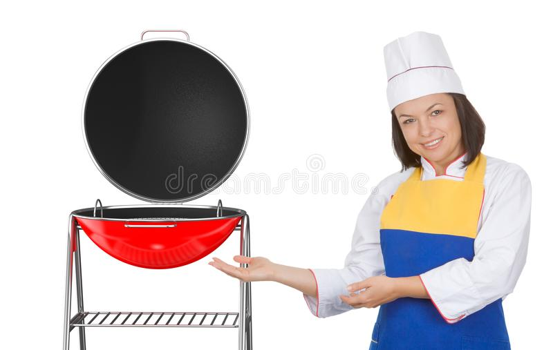 Beautiful Young Woman Chef near Big Red Barbecue Grill stock photography