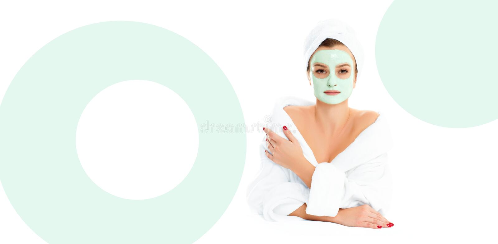 Beautiful young woman with clean fresh skin. Facial treatment. Beauty and spa . royalty free stock image