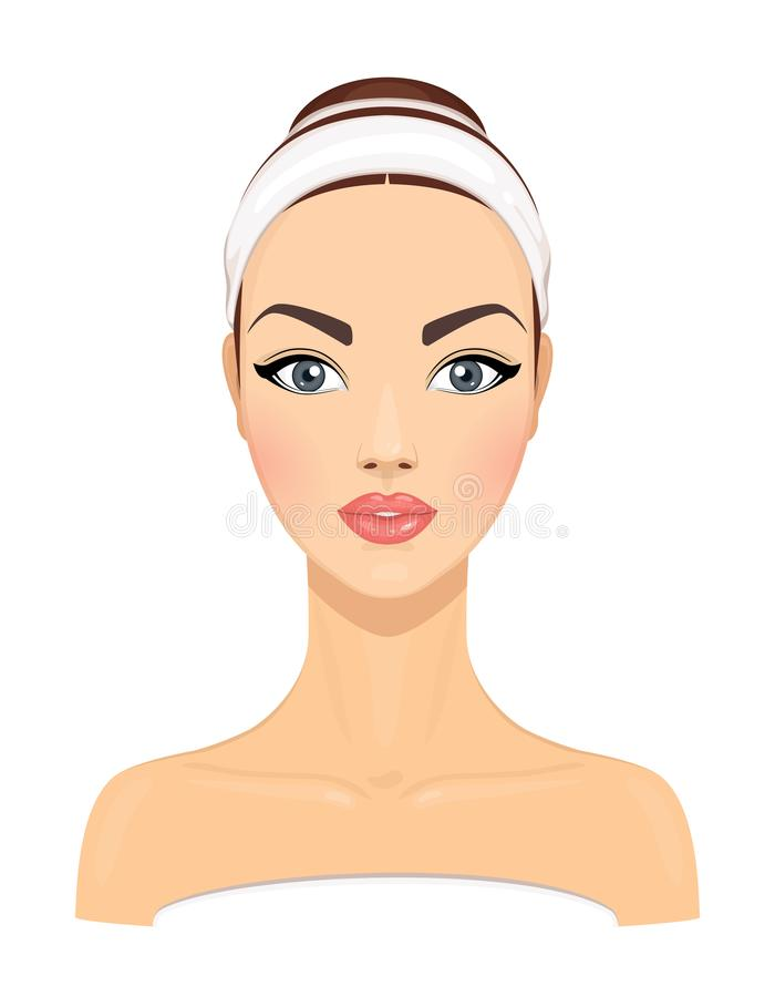 Beautiful young woman with clean fresh skin isolated on white background. Girl avatar. Model for facial beauty treatment. Skin vector illustration