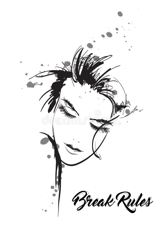 Beautiful young woman with closed eyes. Fashion sketch. Fashion girls face. Hand-drawn fashion model. Woman face stock illustration