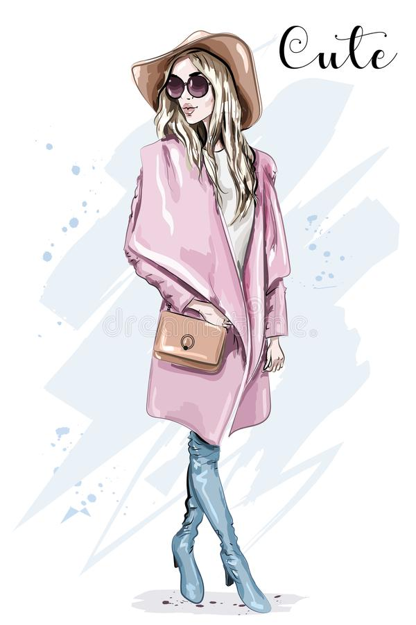 Beautiful young woman in coat and hat. Stylish clothing outfit. Fashion look. Sketch. Vector illustration stock illustration