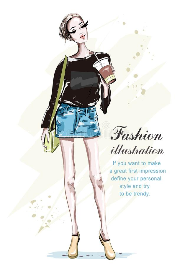 Beautiful young woman with coffee cup. Hand drawn fashion lady with bag. Stylish girl in fashion clothes. Sketch. Vector illustration stock illustration