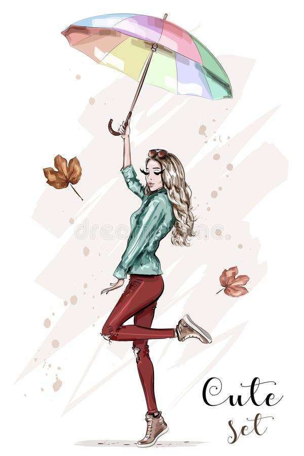 Beautiful young woman with colorful umbrella. Stylish hand drawn girl in fashion clothes. Fashion woman. Sketch. royalty free illustration