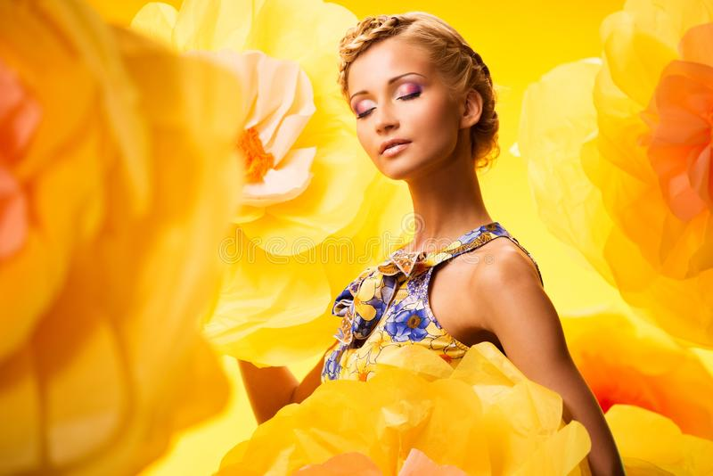Download Beautiful Young Woman In Colourful Dress Stock Image - Image: 33817885