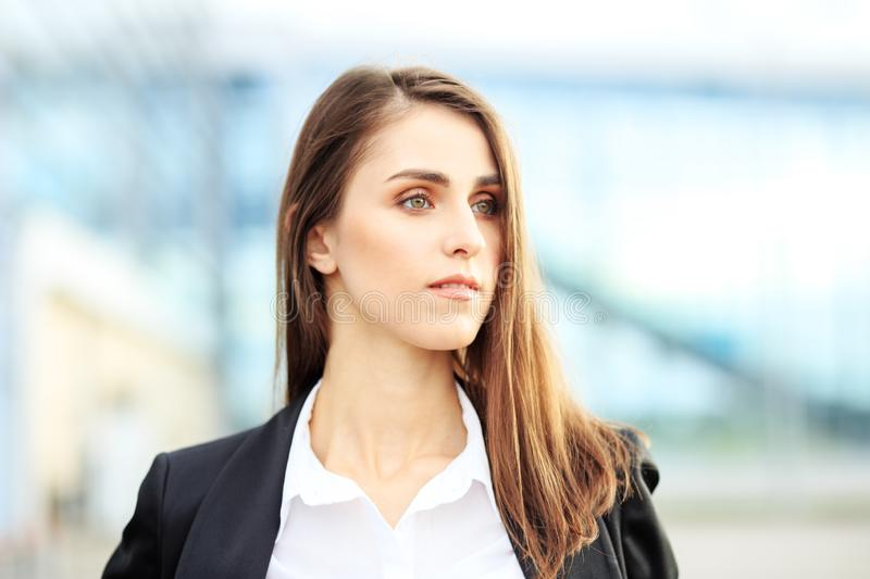 Beautiful young woman. Concept for business, work, career and entrepreneurship stock photography