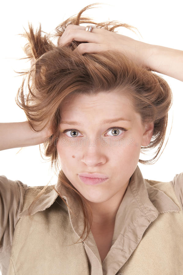 Beautiful Young Woman in Confused Expression royalty free stock image