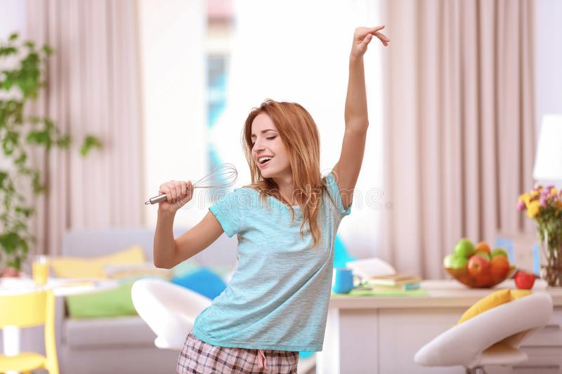 Beautiful young woman dancing royalty free stock image