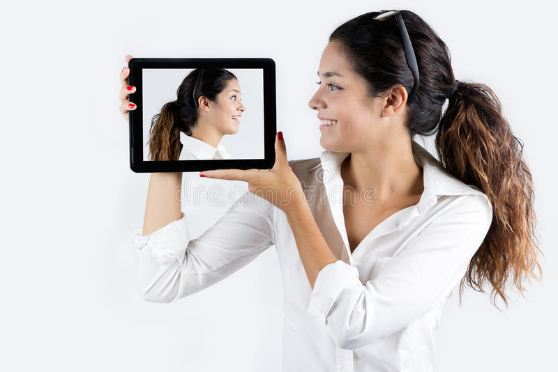 Download Beautiful Young Woman With Digital Tablet Stock Image - Image: 33529931