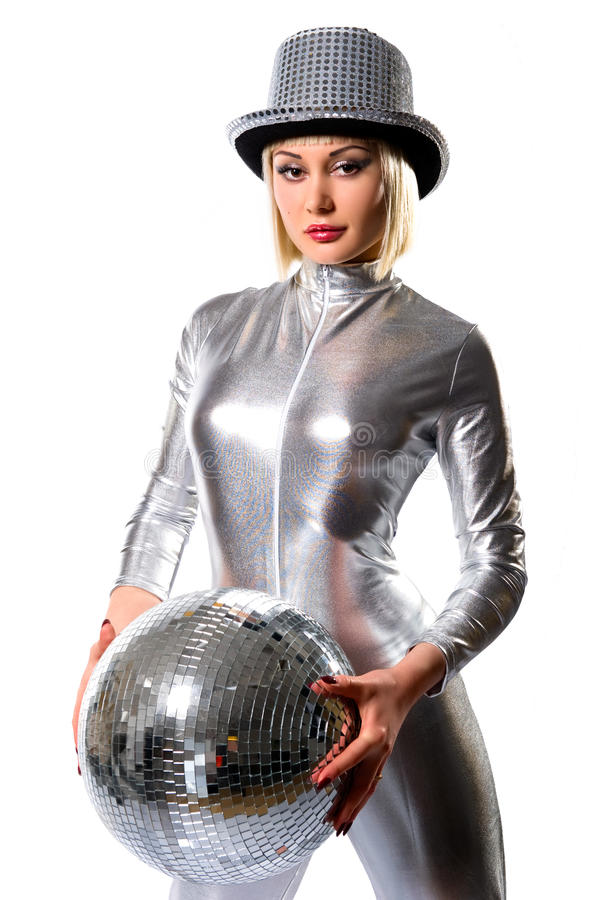 Beautiful young woman with a disco ball royalty free stock photography
