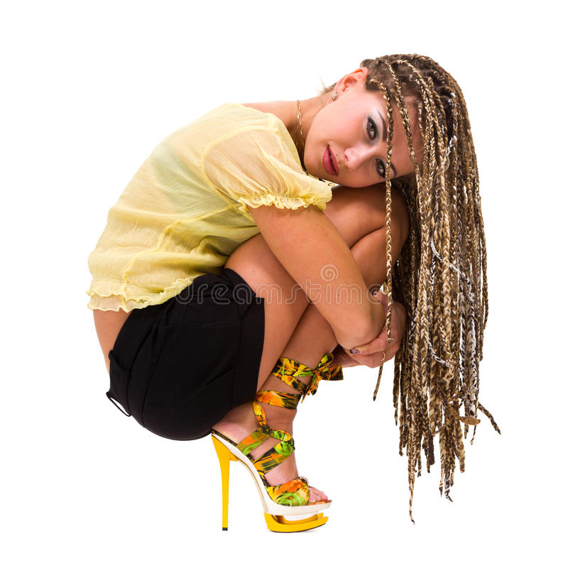 Download Beautiful Young Woman With Dreadlocks Siiting Stock Photo - Image: 26877462