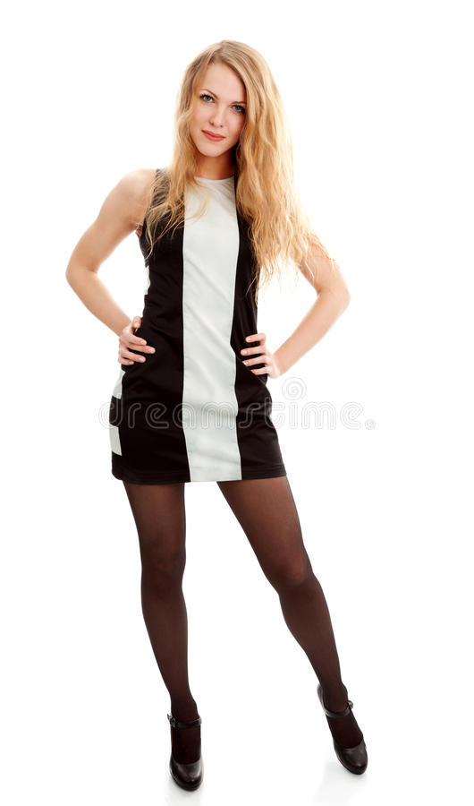 Beautiful young woman in dress royalty free stock photography