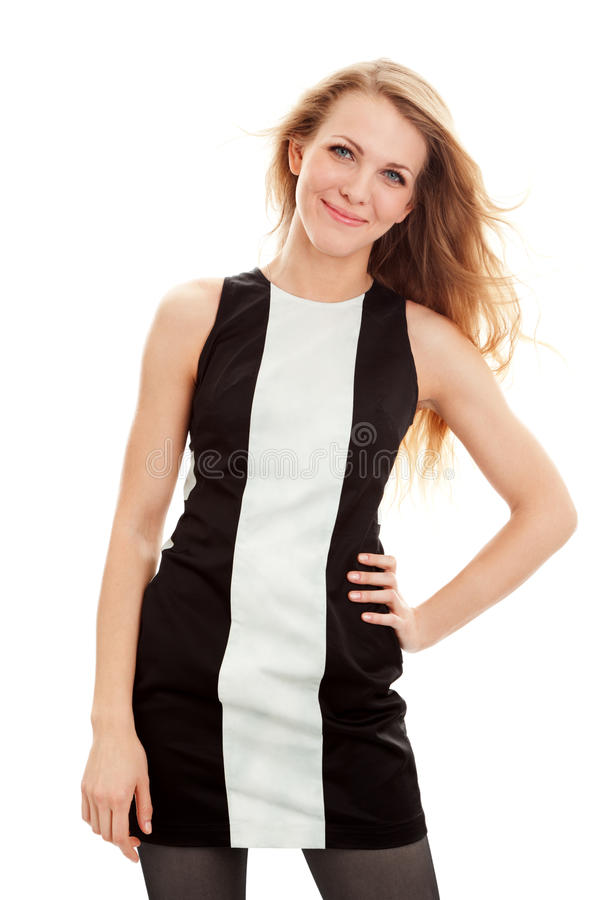 Beautiful young woman in dress stock photo