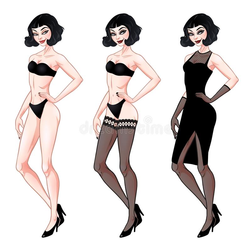 Beautiful young woman, dress up paper doll template, lingerie and evening dress, brunette girl model, vector illustration royalty free illustration