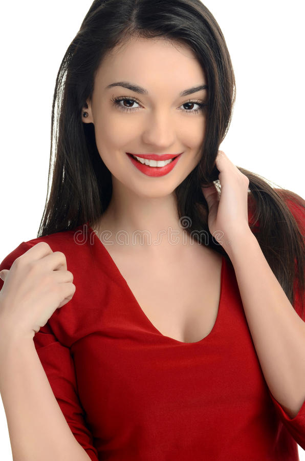 Download Beautiful Young Woman Dressed In Red Smiling. Stock Photo - Image: 34108844