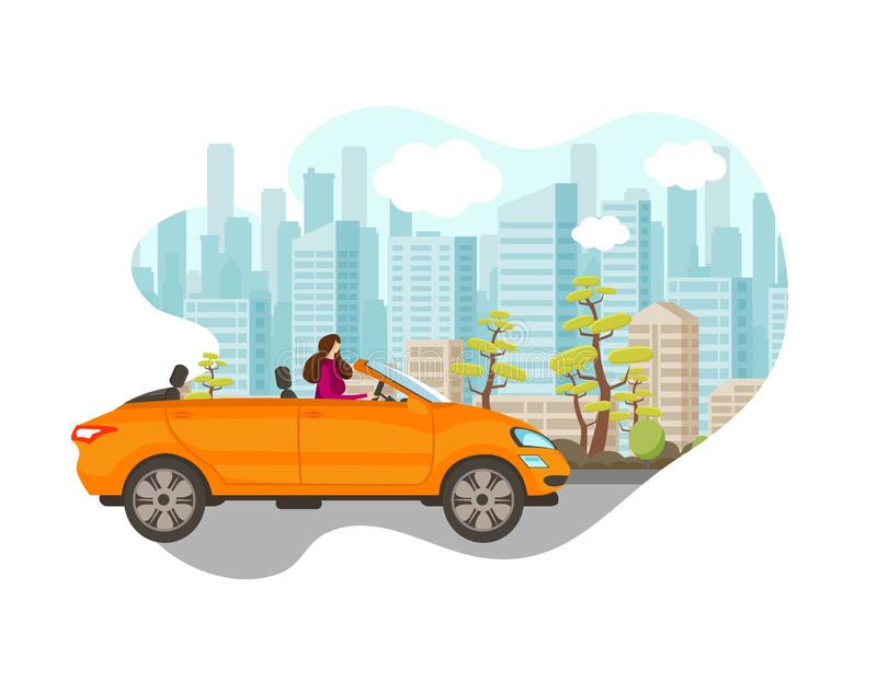 Beautiful Young Woman Driving Car in Big City. vector illustration