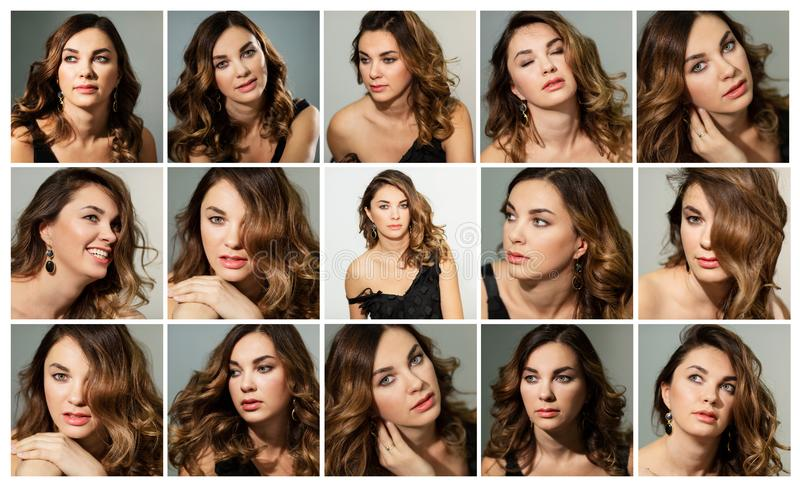 Beautiful young woman, emotions, collage, set. Group images stock photography