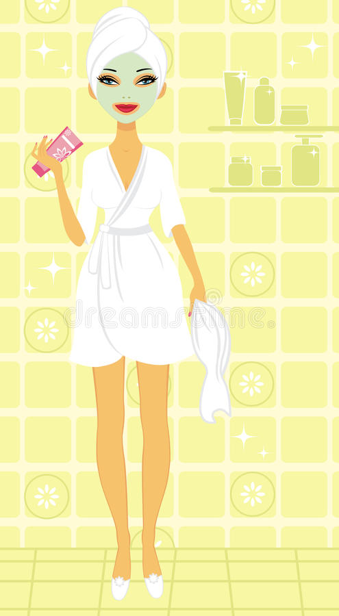 Beautiful young woman enjoying beauty treatment vector illustration