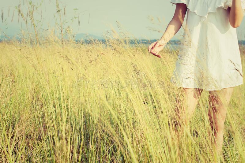 Beautiful young woman enjoying the fabulous nature, dream soft s royalty free stock photography