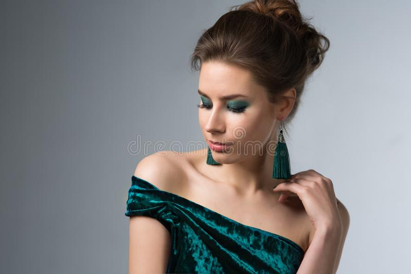 Beautiful woman with bright makeup royalty free stock photo