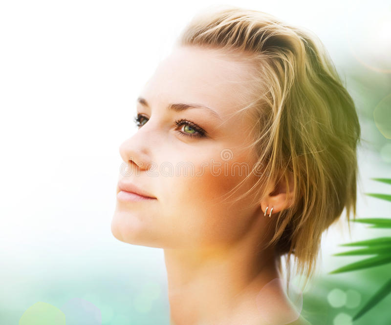 Beautiful Young Woman Face. Portrait of Beautiful Young Woman outdoor stock photography
