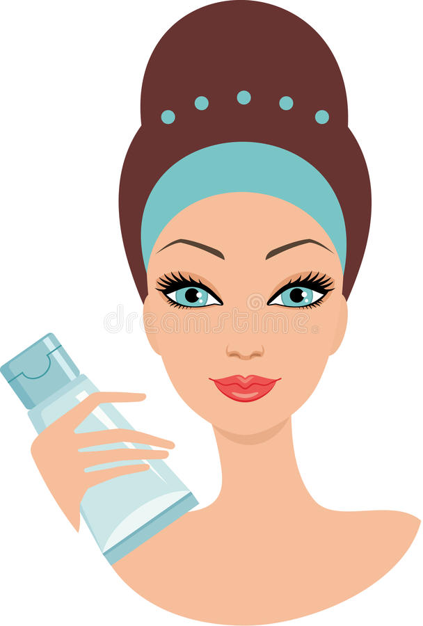 Beautiful young woman with a face cream royalty free illustration