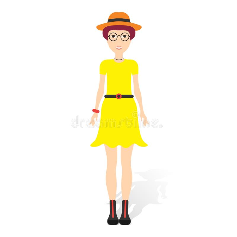 Beautiful young woman in fashion clothes. Detailed female characters with accessories. Flat style illustration. royalty free illustration