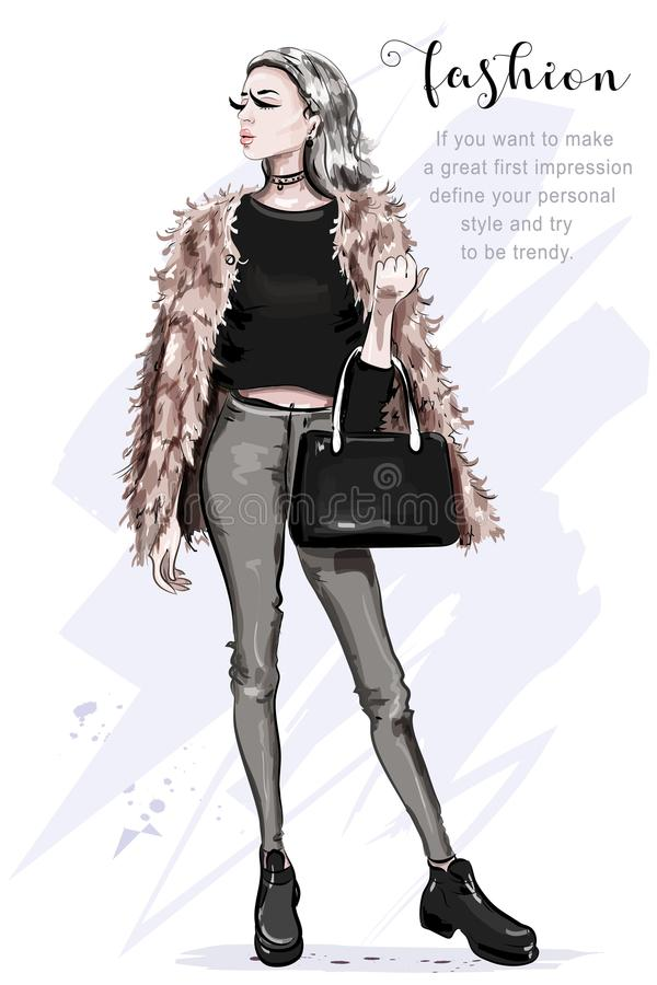 Beautiful young woman in fashion clothes: faux fur jacket. Jeans, crop top. Stylish woman with bag. Fashion lady. Sketch royalty free illustration