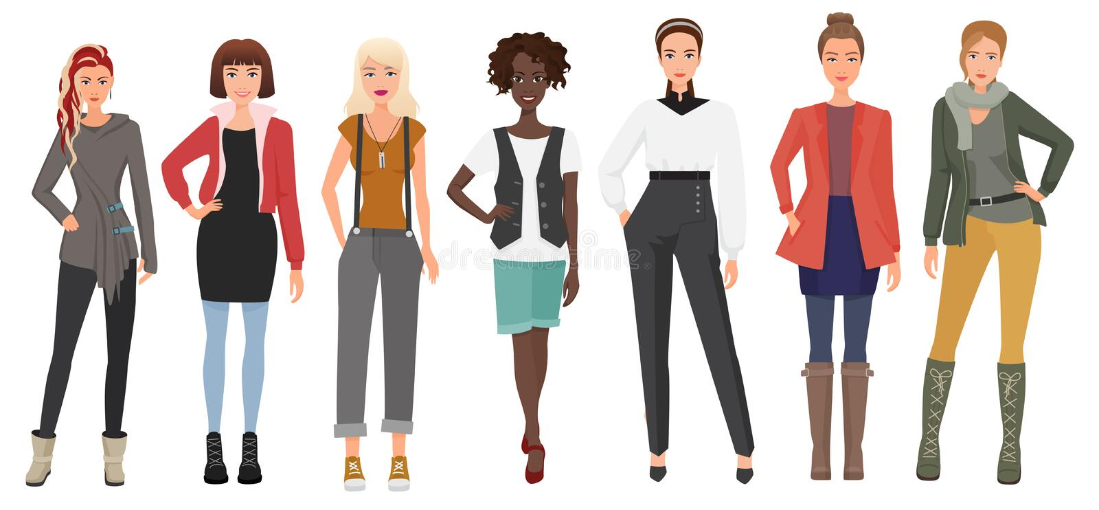 Beautiful young woman in fashion clothes set. Cartoon girls lady characters. Vector illustration. vector illustration