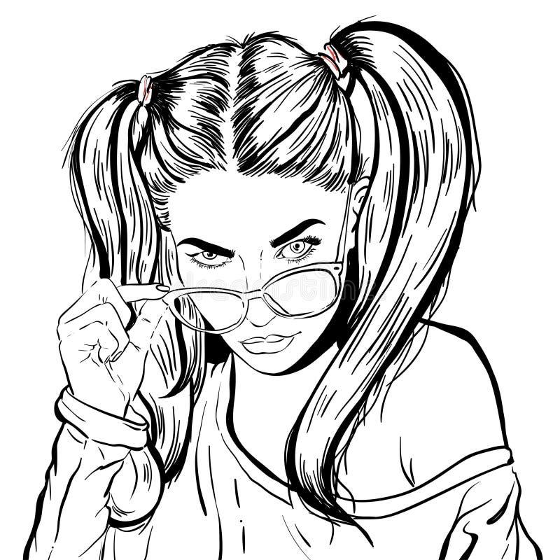 Beautiful young woman. Fashion lady in sunglasses. Stylish woman portrait. Sketch. Vector illustration. stock illustration