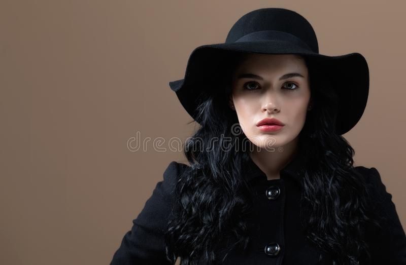 Beautiful young woman in a fashionable coat. On a brown background stock images