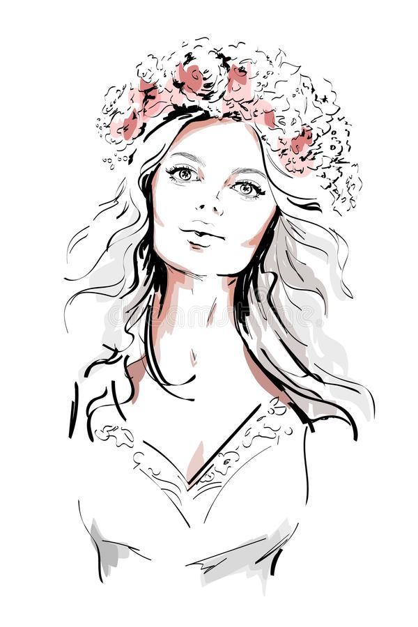 Beautiful young woman with flowers wreath in long hair. Hand drawn woman portrait. Sketch. vector illustration