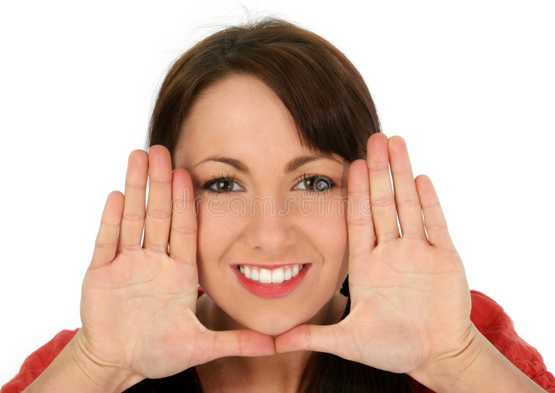 Download Beautiful Young Woman Framing Face Stock Image - Image of hands, person: 472903