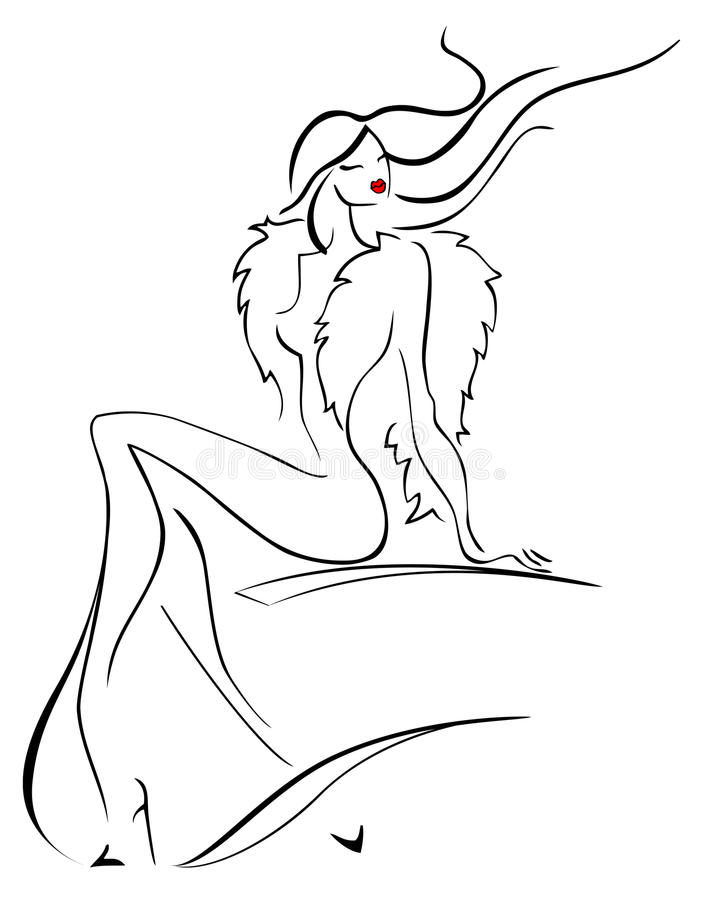 Beautiful young woman in a fur. vector illustration