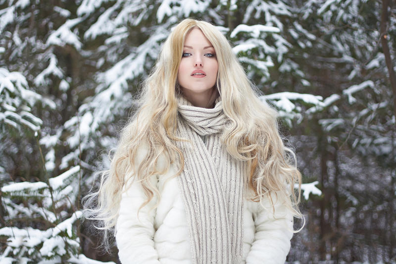 Beautiful young Woman in Fur Coat and scarf royalty free stock photography